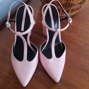 Light Pink Patent Leather T-Strap heels